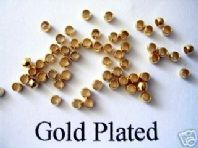 100 Gold Plated 4mm Round Crimp Beads